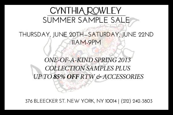 Cynthia Rowley Summer 2013 Sample Sale