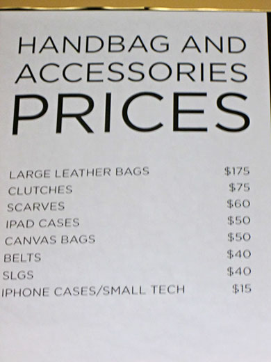 Handbags and  accessories price list