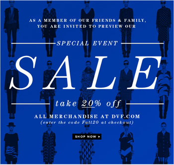 DVF Friends & Family Sale Event