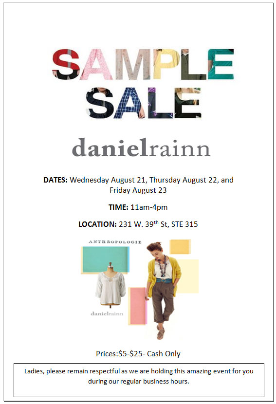 Daniel Rainn Sample Sale