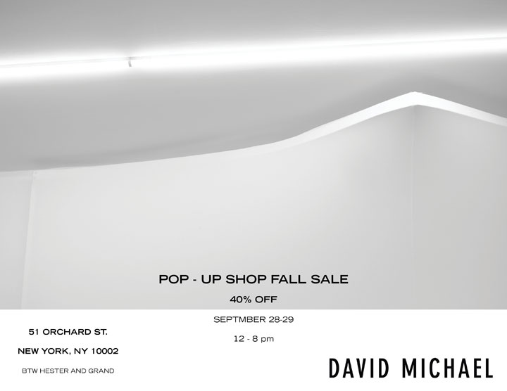 David Michael Fall Pop-up Sample Sale