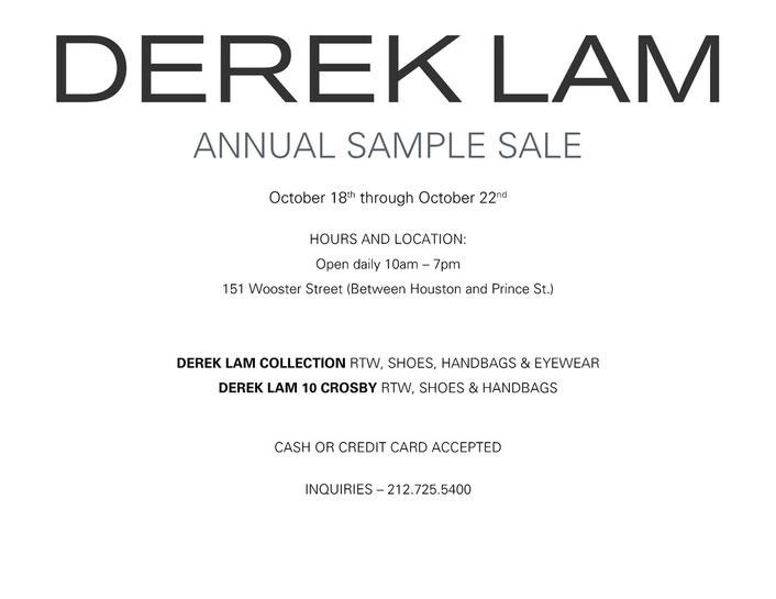 Derek Lam Annual Sample Sale
