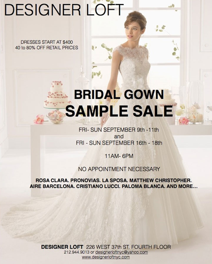 Designer Loft Bridal Gowns New York Sample Sale