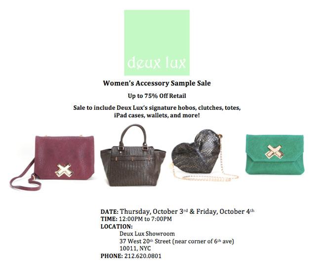 Deux Lux Handbags Sample Sale