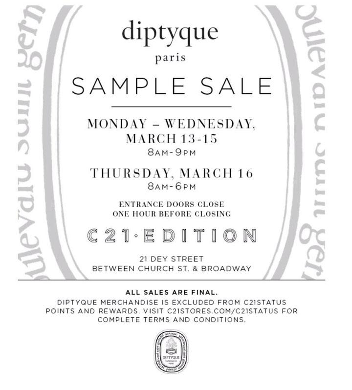 Diptyque Sample Sale