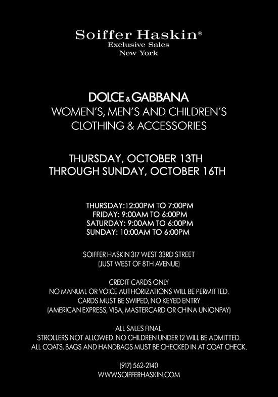 Dolce & Gabbana Sample Sale