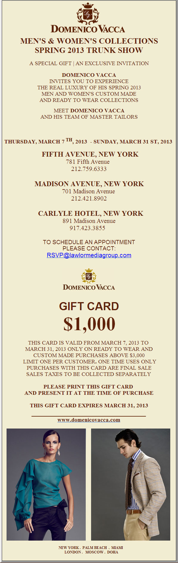 Domenico Vacca Men's & Women's Collections Spring 2013 Trunk Show
