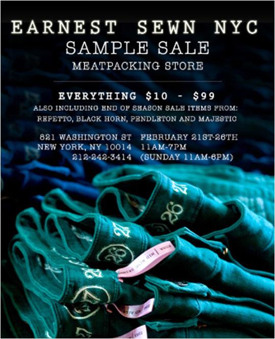 Earnest Sewn Sample Sale