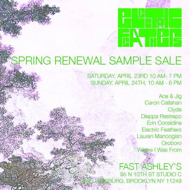 Electric Feathers, Dieppa Restrepo, & More Sample Sale
