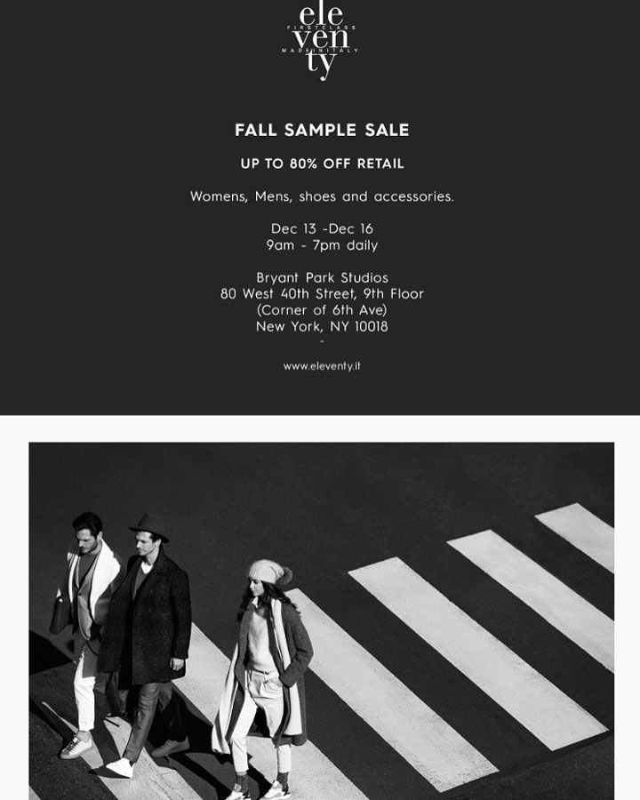Eleventy Fall Sample Sale