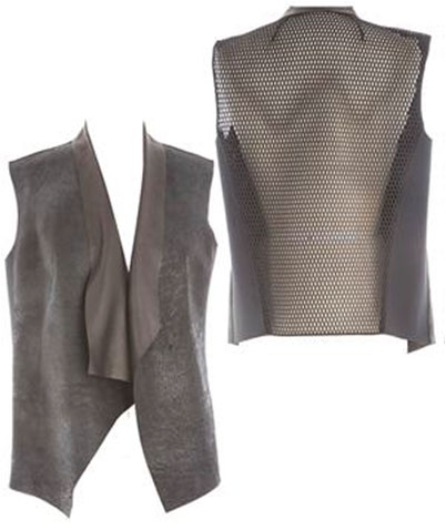 BETSY VEST: Break' on distress leather in black from Transition 15 collection Retail: $698, Now $99
