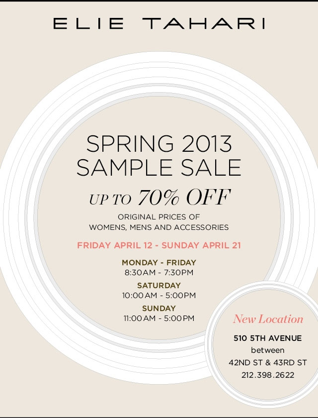 Elie Tahari Spring 2013 Sample Sale
