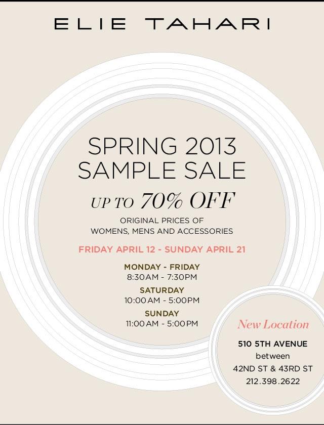 Elie Tahari Spring 2013 Sample Sale