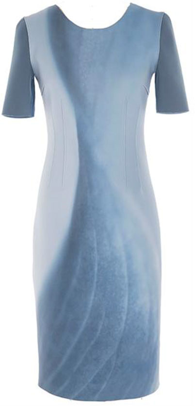 GWENYTH DRESS: Floral Twist on Neoprin in grey haze/atmosphere from Transition 15 collection Retail: $428, Now $99