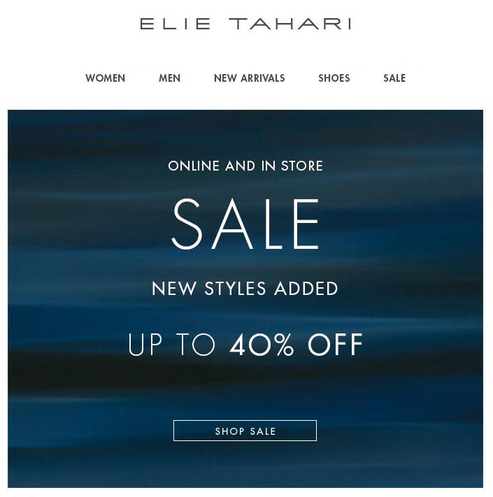 Elie Tahari Retail Sale