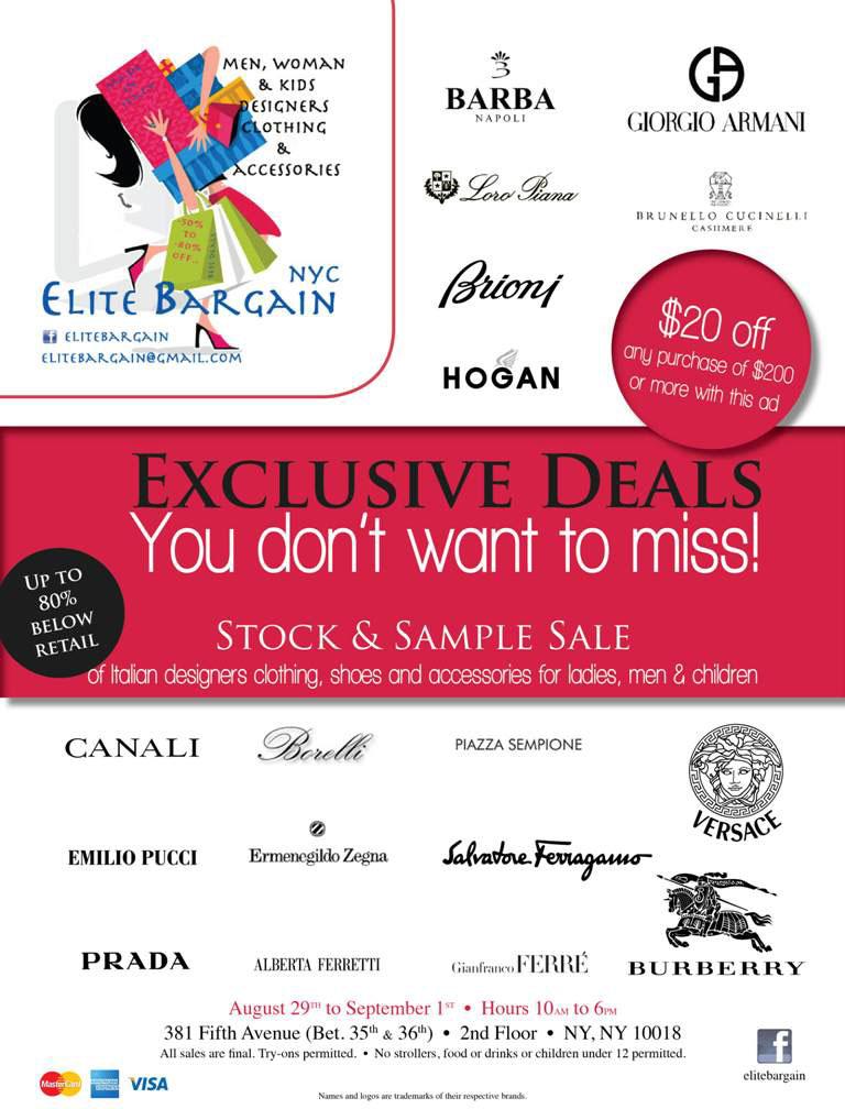 Elite Bargain Sample Sale