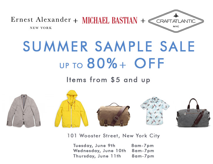 Ernest Alexander + Michael Bastian + Craft Atlantic Sample Sale