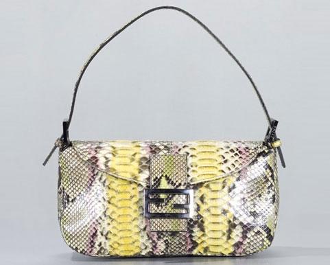 Fendi Multicolor Python Snakeskin Baguette Bag