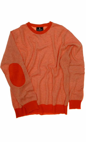 Fivestory, Made in Scotland mens striped 100% cashmere sweater in pumpkin with elbow patches: $218 (orig. $545)