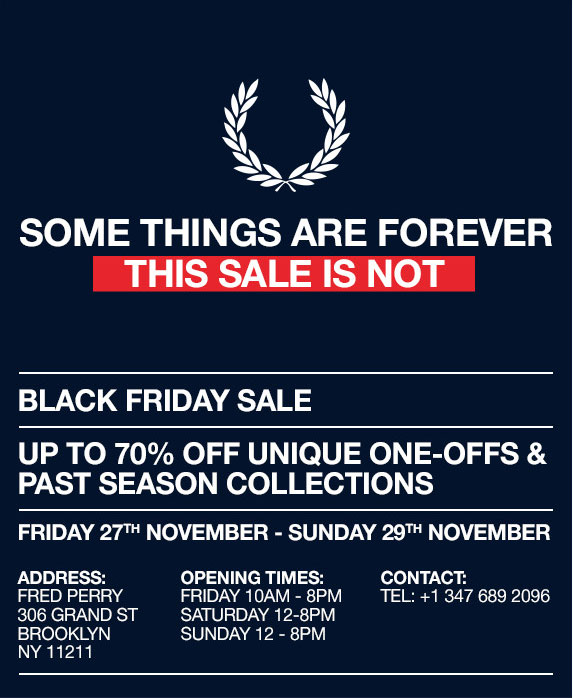 Fred Perry Black Friday Overstock Sale
