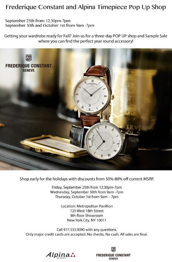 Frederique Constant & Alpina Sample Sale