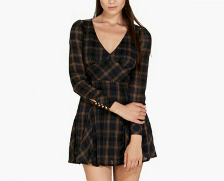 Free People Gauzy Plaid Mini Dress For $39