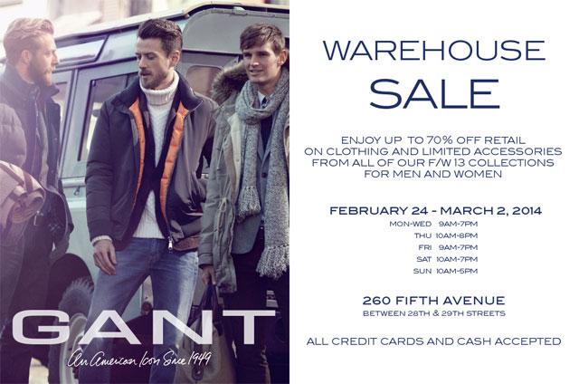 GANT 2014 Warehouse Sale