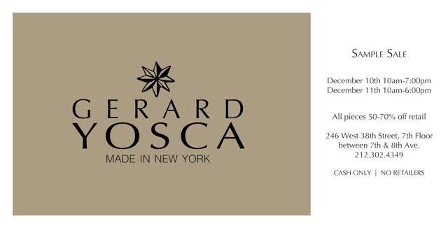 Gerard Yosca Jewelry Holiday Sample Sale