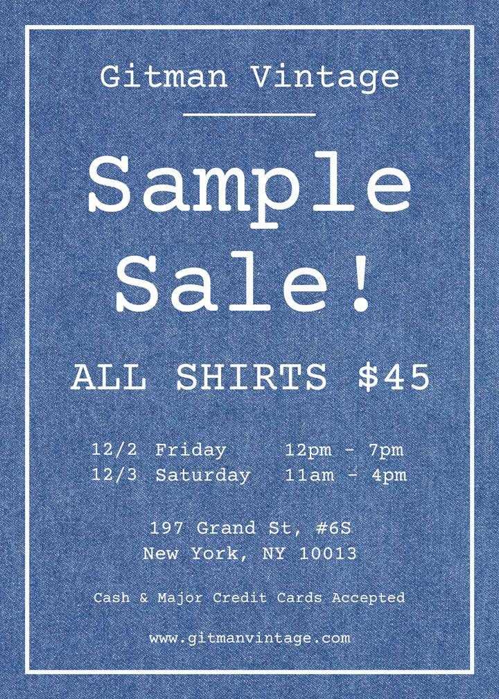 Gitman Vintage Sample Sale
