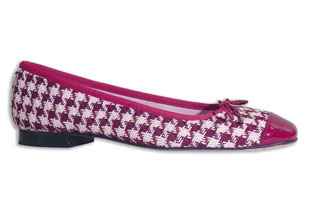 Great Red Houndstooth  printed ballet flat with red patent cap toe detail; Retail: $245.00  with 40% off
