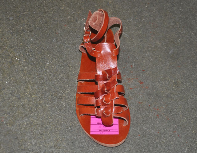 Greek Sandals by both Barneys CoOp and Ancient Greek Sandals ($100)