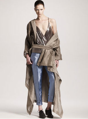 Haider Ackermann Asymmetric Linen-Silk Trenchcoat, Wrapped Blouse & Cropped Silk Pants