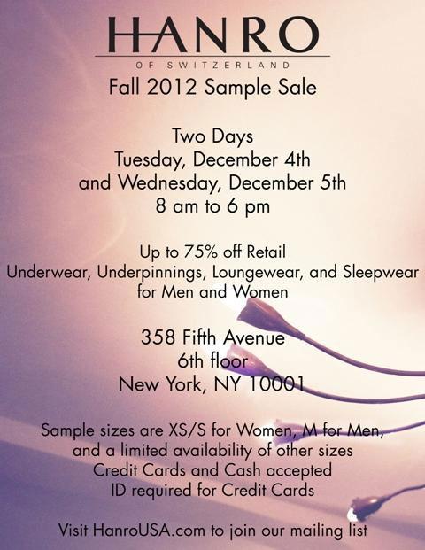 Hanro Fall 2012 Sample Sale
