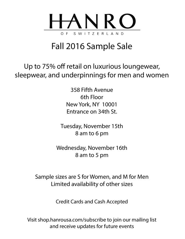 HANRO of Switzerland Fall 2016 Sample Sale