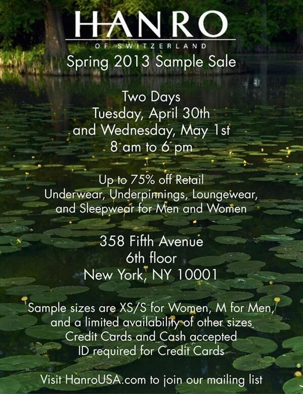 Hanro Spring 2013 Sample Sale
