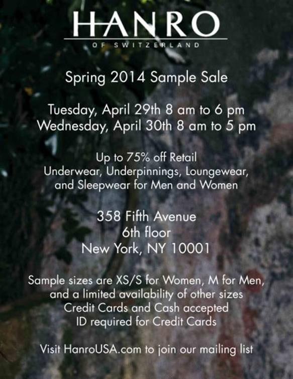 Hanro lingerie loungewear new york spring 2014 sample for 1271 6th avenue 35th floor new york ny 10020