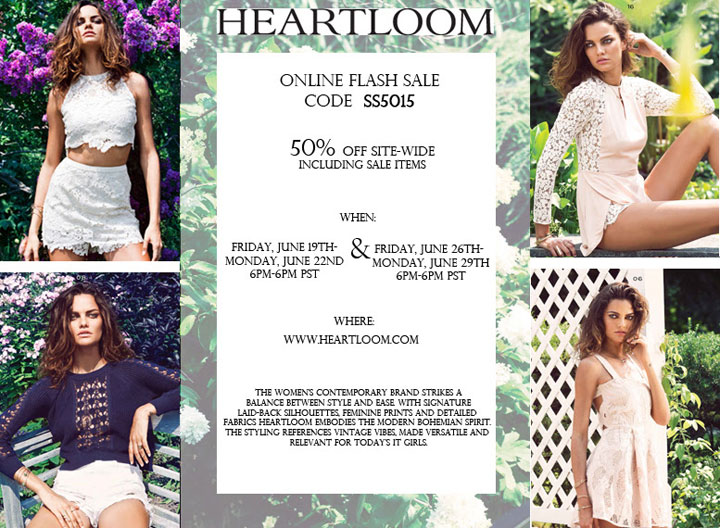 Heartloom 50% Off Flash Sale
