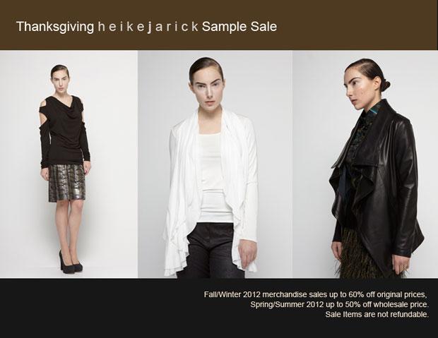 Heike Jarick Thanksgiving Sample Sale