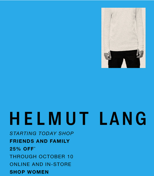 Helmut Lang Friends & Family Sale