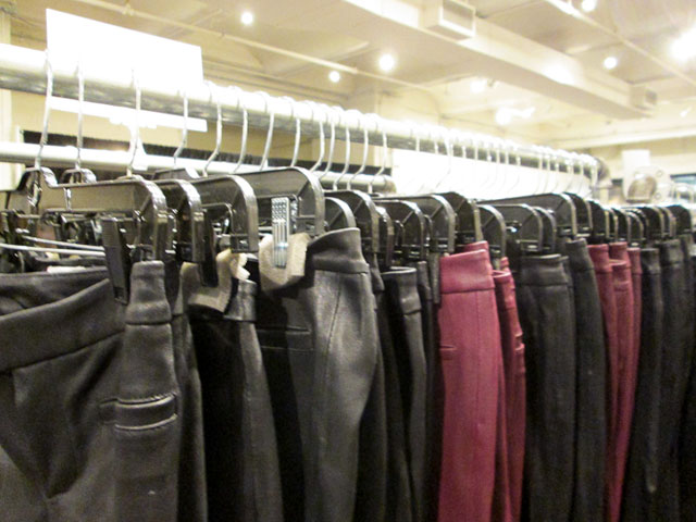 2 or 3 entire racks of leather 'leggings' on sale for $199
