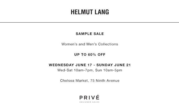 Helmut Lang Sample Sale