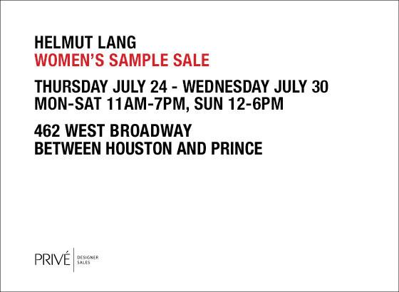 Helmut Lang SoHo Sample Sale