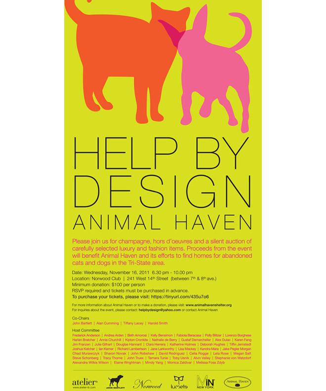 Help By Design, Animal Haven Fundraiser: 11/16