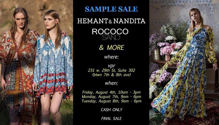 Hemant & Nandita and Rococo Sand Sample Sale