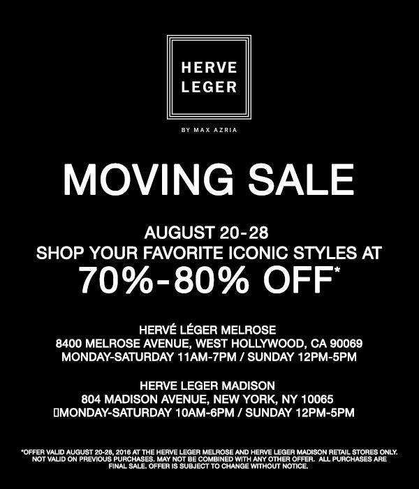 Herve Leger Madison Moving Sale
