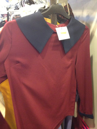 Maroon blouse with a blue peter pant collar by House of Balfour ($30, size Large)