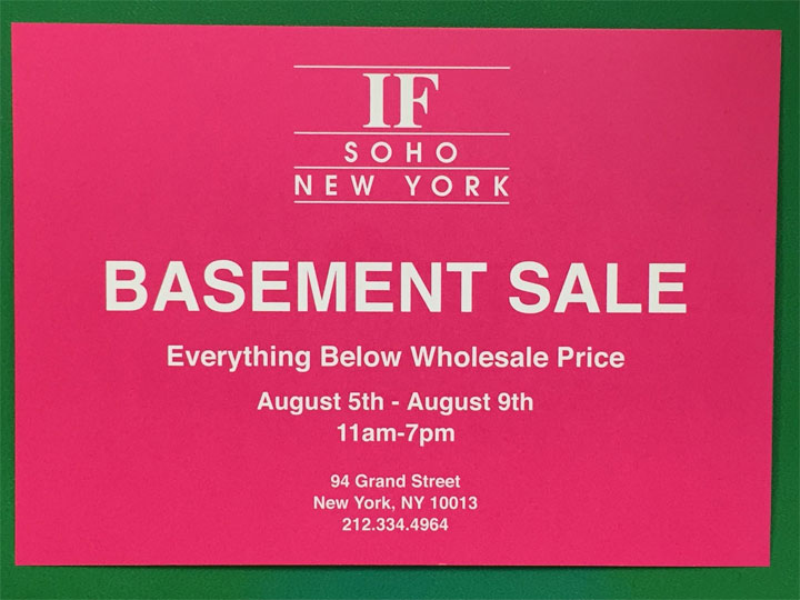 IF-SoHo Semi Annual Basement Sale