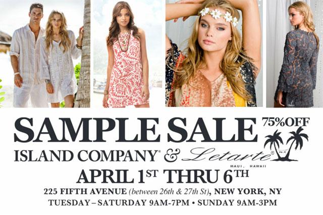Island Company and Letarte Sample Sale