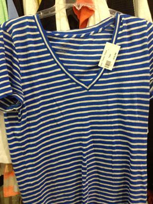 J.Crew Blue and White Stripe V-Neck ($15)
