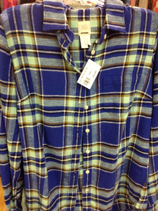 J.Crew Chambray Button Down, and a blue and yellow flannel 'The Boy Shirt' ($30)